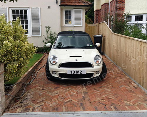 mini cooper on herringbone drive