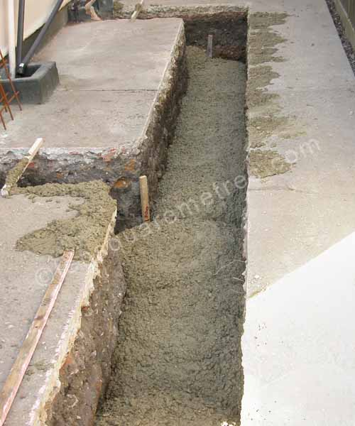 concrete in foundation trench